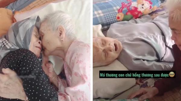 """Mẹ già 105 tuổi khóc nức nở khi gặp con gái 80 sau 3 tháng giãn cách: """"Má nhớ con mà không biết con ở đâu"""""""