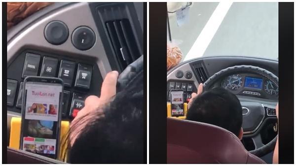 Tài xế xe khách vừa lái xe vừa xem phim người lớn?