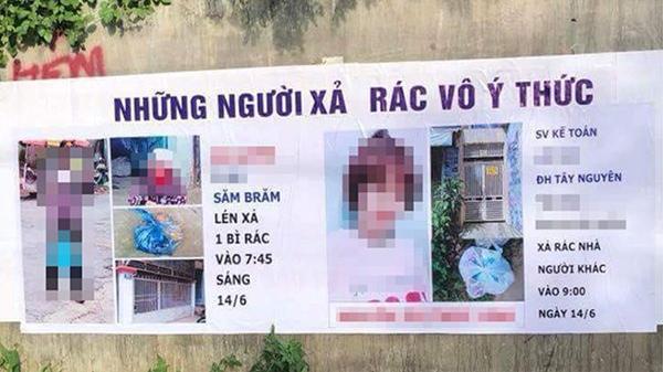 Tranh cãi gay gắt hình ảnh băng rôn 'bêu tên chỉ mặt' người xả rác vô ý thức ở TP Buôn Ma Thuột