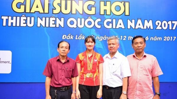 Nữ xạ thủ Phạm Thị Thanh Hiền (Đắk Lắk) giành huy chương vàng tại giải vô địch bắn súng toàn quốc năm 2017