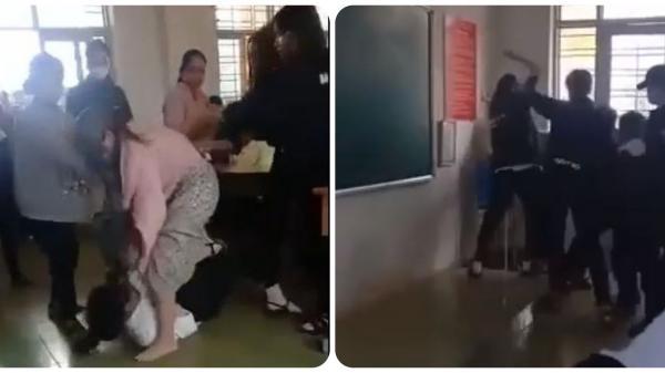CLIP: Nữ sinh gọi người nhà đến trường hỗn chiến ở Đắk Lắk