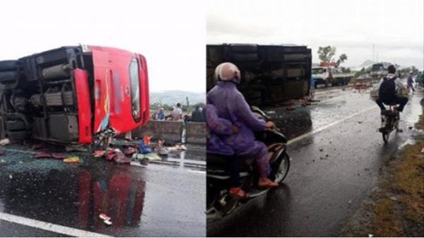 Xe khách mất lái đâm vào dải phân cách lật giữa đường khiến 3 người bị thương