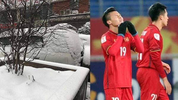 [NÓNG]: Mưa tuyết dày đặc, có khả năng hoãn chung kết U23 châu Á