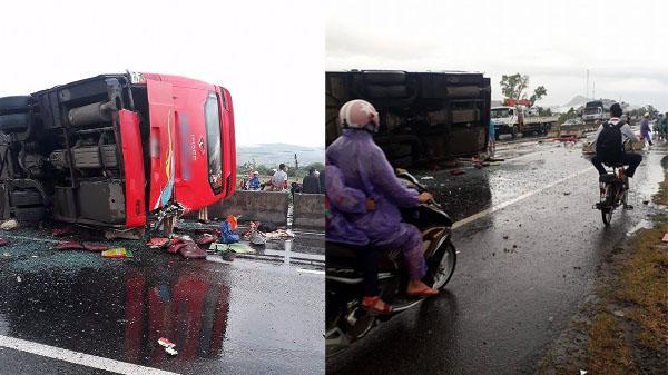 Xe khách hướng Đà Nẵng - Sài Gòn mất lái đâm vào dải phân cách lật giữa đường khiến 3 người bị thương