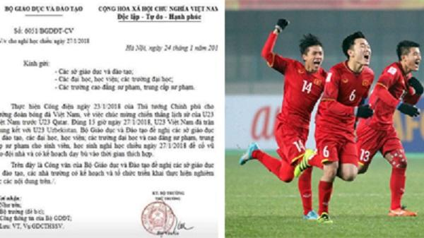 Công văn cho học sinh nghỉ học để cổ vũ U23 Việt Nam trận chung kết là giả mạo