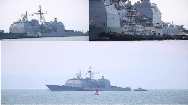 Đà Nẵng: Tàu hộ tống của Hải quân Mỹ đang tiến vào cảng Tiên Sa