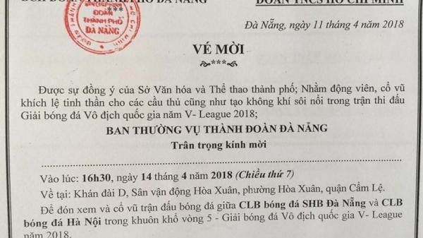 Đà Nẵng: Phát 1.500 vé miễn phí xem bóng đá V - League cho thanh niên