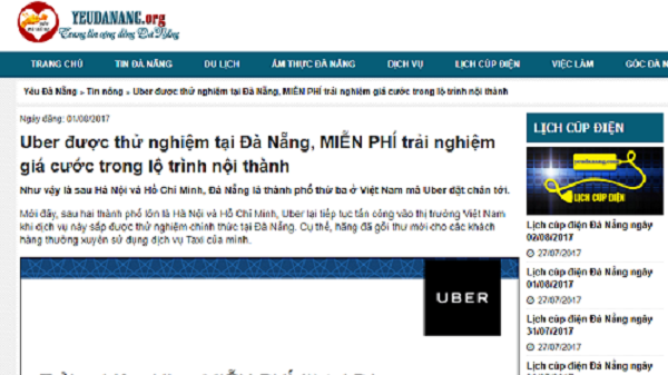 Chưa cho phép thử nghiệm Uber tại Đà Nẵng
