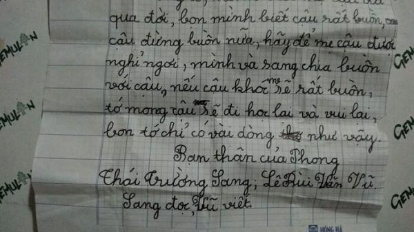 Cảm động bức thư bạn cùng lớp gửi cho cậu bé vừa mất mẹ