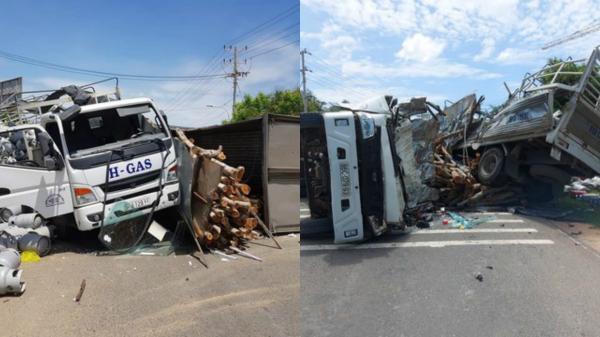 Bình Thuận: Tai nạn giữa xe chở bình gas và ôtô chở gỗ