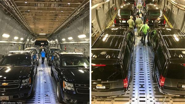 Cận cảnh đội xe 'khủng' hộ tống Tổng thống Mỹ tới Việt Nam