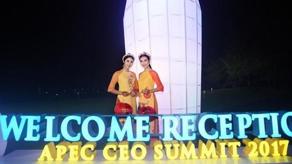 Ngọc Hân cùng dàn người đẹp diễn áo dài tại tiệc chào mừng APEC