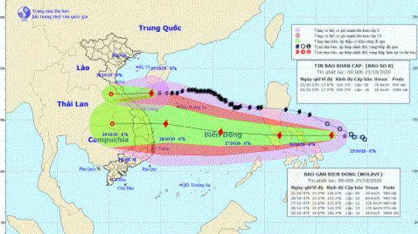 Bão số 8 sát Hà Tĩnh-Quảng Trị, bão Molave gần Biển Đông
