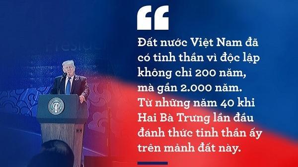 10 phát biểu ấn tượng của TT Trump trong chuyến thăm VN