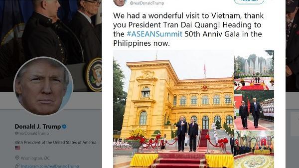 Tổng thống Trump đăng tweet cảm ơn Chủ tịch nước Trần Đại Quang về chuyến thăm Việt Nam 'tuyệt vời'