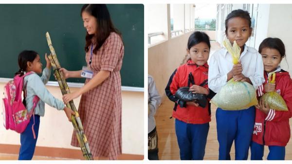 Quảng Trị: Học sinh tặng giáo viên hoa dại, gạo nếp và mía nhân ngày 20/11