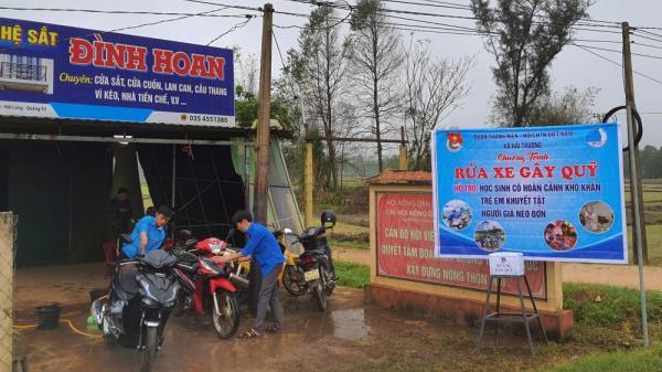 Huyện đoàn Hải Lăng: Đồng loạt tổ chức rửa xe gây quỹ giúp các hoàn cảnh khó khăn