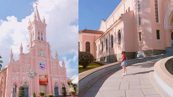 """Lịm tim trước nhà thờ """"màu hồng"""" siêu dễ thương ở Đà Nẵng"""