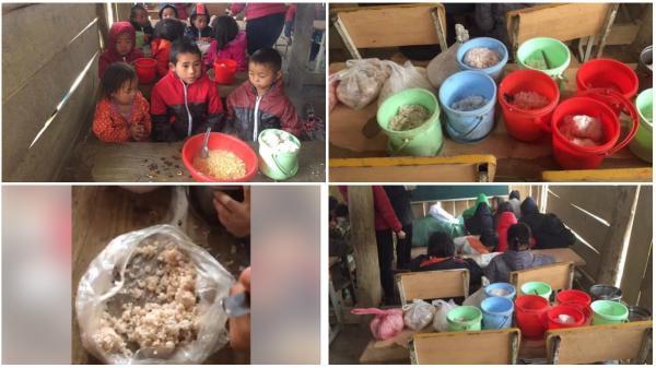 Nhói lòng bữa trưa chỉ có cơm trắng đựng trong túi bóng của các em học sinh Điện Biên
