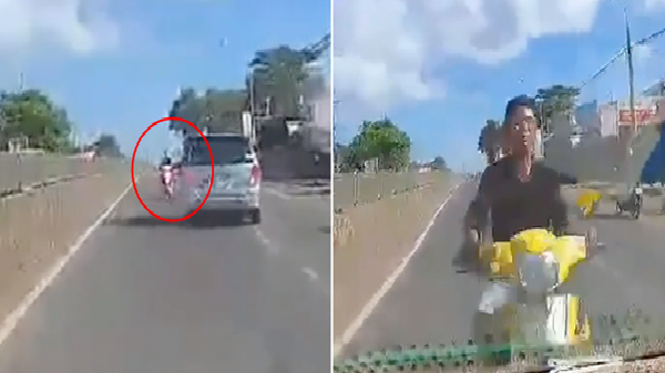 Clip sốc: Phóng xe máy ngược chiều trên quốc lộ, nam thanh niên lao thẳng vào đầu ô tô bị thương nặng