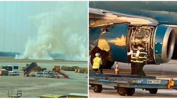 Máy bay nổ lốp khi chạy đà tại sân bay Tân Sơn Nhất