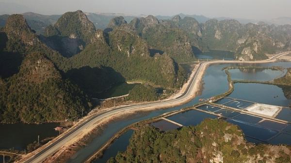 Đường bao biển Hạ Long - Cẩm Phả phủ xanh núi đá vôi khi cây rừng bị hư hại do mở đường