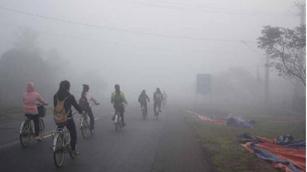 Gia Lai: Sương mù dày đặc vào sáng sớm