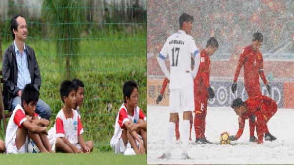 Có một bầu Đức âm thầm dõi theo hình ảnh U23 Việt Nam bới tuyết trắng cho đồng đội sút phạt