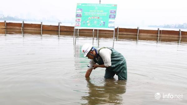 Nước hồ Tây nhìn thấy rõ đáy sau thí điểm công nghệ làm sạch Nhật Bản