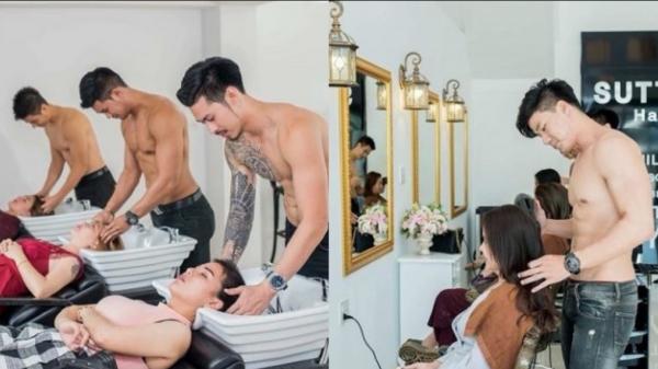 Salon tóc chịu chơi, thuê dàn nhân viên nam sáu múi gội đầu, bế khách vào tận ghế