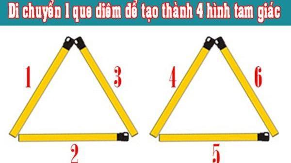 Tưởng đơn giản mà không ai làm được: Di chuyển 1 que diêm để tạo 4 tam giác, đáp án quá bất ngờ