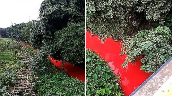 Dòng sông bất ngờ đỏ lòm như máu, người dân tá hỏa khi rõ nguyên nhân