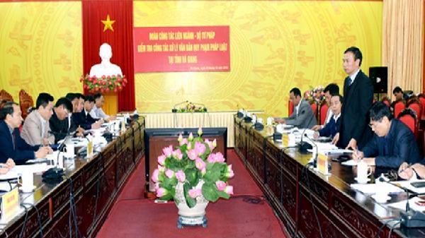 Bộ Tư pháp kiểm tra công tác xử lý văn bản QPPL tại tỉnh Hà Giang