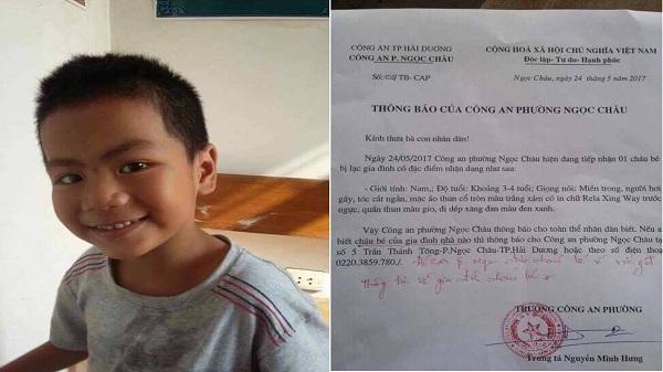 Hải Dương: Công an tìm người thân cho cháu bé bị lạc
