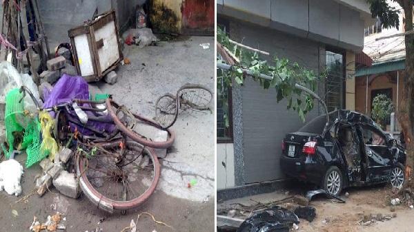 Hải Dương: Ô tô đâm người phụ nữ đi xe đạp tử vong rồi lao vào gốc cây ven đường