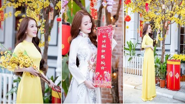 Đầu năm mới, bạn gái Vũ Văn Thanh đã khoe sắc xuân tuyệt đẹp trong tà áo dài thướt tha.