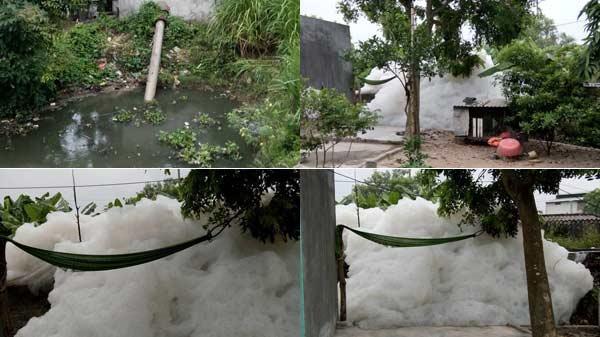 Hiện tượng lạ: Bọt bẩn trắng xóa, mùi hôi thối do nguồn nước nông nghiệp ô nhiễm ở Cẩm Điền (Hải Dương)