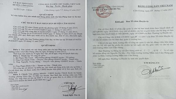 """Thanh tra vụ Hiệu phó trường mầm non Cẩm Hưng có dấu hiệu """"ăn bớt"""" khẩu phần ăn của học sinh"""
