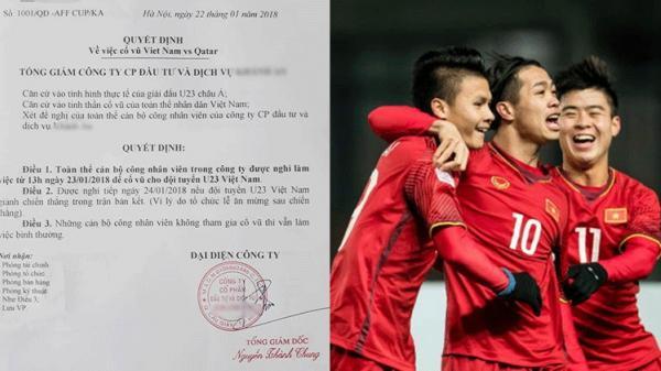 'Ông sếp của năm' ra công văn cho nhân viên nghỉ làm để cổ vũ U23 Việt Nam