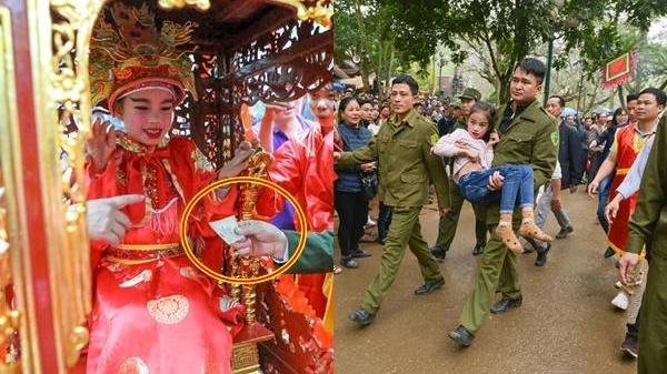 'Tướng bà' 9 tuổi được cõng, bế để tránh bị cướp ở lễ hội