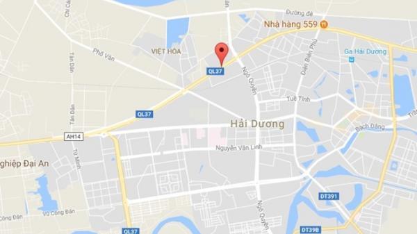 2 xe container biển Hải Phòng va chạm trên Quốc lộ 37 gây tắc đường 7km