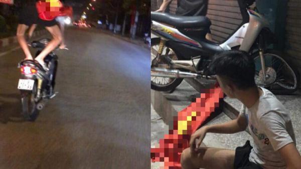 Clip: Thanh niên chở bạn gái bốc đầu xe máy mừng đội nhà thắng tứ kết ASIAD rồi ngã sấp mặt giữa đường