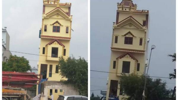 Hà Nam: Xôn xao hình ảnh ngôi nhà 5 tầng vừa xây xong đã nghiêng chủ nhân không dám ở