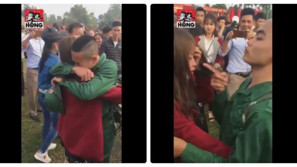 CLIP: Cô gái gào khóc tiễn người yêu đi nghĩa vụ, hành động cuối của chàng trai gây bất ngờ