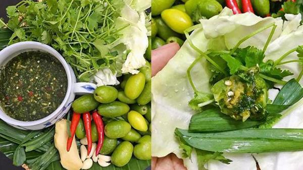 Nhót xanh cuộn bắp cải chấm chẩm chéo - món ngon mùa này đang khiến cánh chị em 'phát cuồng'