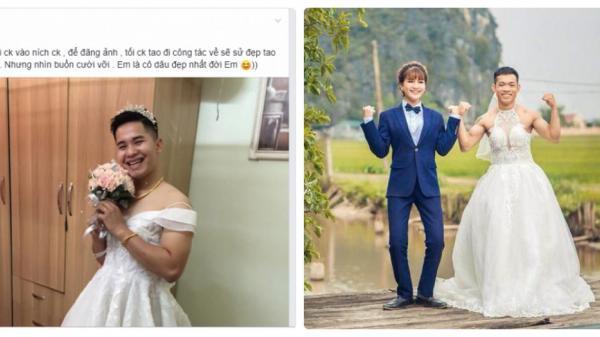 Chị em đua nhau khoe ảnh chồng mặc váy cưới, bất ngờ nhất là tấm cuối cùng