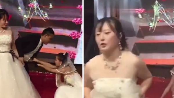 Clip gây sốt MXH: Cặp đôi chuẩn bị hôn nhau thì người yêu cũ của chú rể mặc váy cưới xông vào lễ đường