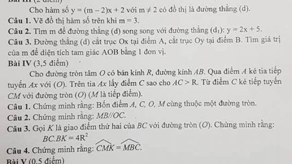Hà Nội: Sai sót lạ đời trong đề thi môn toán học kì 1- lớp 9