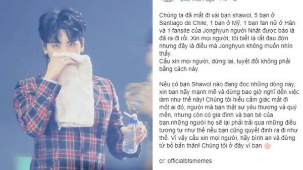 Xôn xao tin người hâm mộ khắp thế giới tìm đến cái chết sau khi nghe tin buồn của Jonghyun