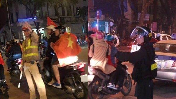 Cái đập tay ăn mừng siêu dễ thương và những hành động rất đẹp của các anh CSGT dành cho cổ động viên U23 Việt Nam